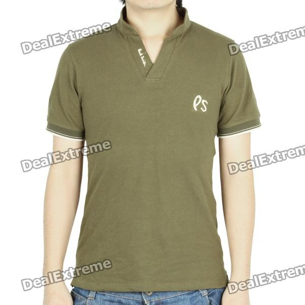 Fashion Short Sleeves Polo Shirt T-Shirt - Army Green (Size-XL)