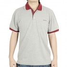 Fashion Short Sleeves Polo Shirt T-Shirt - Grey + Dark Red (Size-L)
