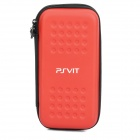 Protective PU Leather Hard Pouch Case w/ Carabiner Clip for PS Vita - Red