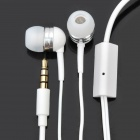 Stylish Earphone with Microphone & Clip - White (3.5mm Jack / 127cm-Length)