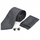Fashion Men's Square Dot Pattern Tie - Black + White