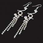 MAGICUTE Elegant Stylish Rhinestone Flower / Aeolian Bells Design Earrings - Silver (Pair)
