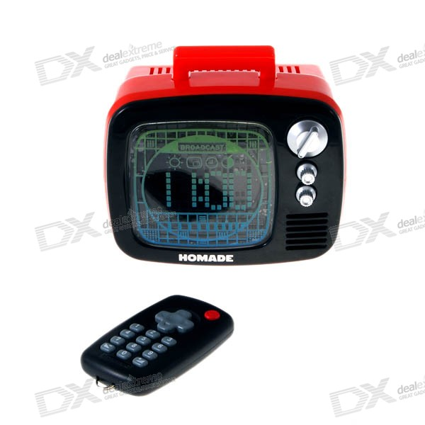 Cool TV Style Alarm Clock with Remote Control (3*AAA)