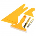 6-in-1 Vehicle Car Windshield Film Knife + Scraper Tools Set - Yellow