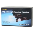 Telescopic 3W 100LM 3-Mode White LED Flashlight Camping Light with Hanger - Black (3 x AAA)