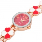 Lady's Stylish Four Leaf Clovers Band Wrist Watch - Golden + White + Red (1 x 377)