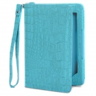 Crocodile Grain Protective Case w/ Rechargeable 2-LED Reading Light for Kindle 4/Kindle Touch - Blue