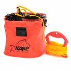 KASE Portable Folding Water Well Draw Bucket Pail - Red