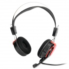 Stylish Stereo Headset Headphone w/ Microphone / Volume Control - Black + Red (3.5mm-Plug)