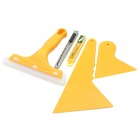 Professional Car Film Scraper Tools Set - Yellow (3-Scrapers / 10-Blade / Knife)
