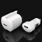 AC / Car USB Adapter Chargers with USB Data Charging Cable for iPhone / iPad / iPod - White