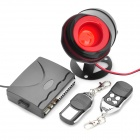 One Way Car Security Alarm System Horn with Remote Controller - Black (DC 12V)
