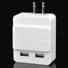 Genuine Simplism Slide Style Dual USB AC Charger for Iphone / Ipad - White (2-Flat-Pin Plug)