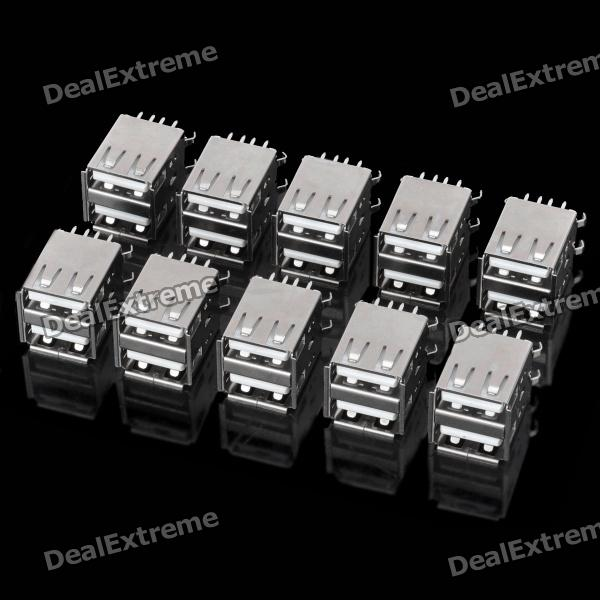 DIY Dual USB Female Type A 180 Degree DIP Socket Connector - Silver (10-Piece Pack) diy usb a 4 pin female connector socket silver 20 piece pack