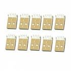 DIY USB 4-Pin Female Type A SMT Socket Connector - Silver (10-Piece Pack)