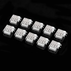 DIY USB 4-Pin Female 90 Degree Side Inserted Socket Connector - Silver (10-Piece Pack)