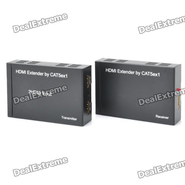 1080P HDMI Over CAT5E / CAT6 Extender Set - Black (2-Input / 1-Output)