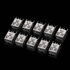 DIY Mini USB 5-Pin Female 180 Degree DIP Socket Connector - Silver (10-Piece Pack)