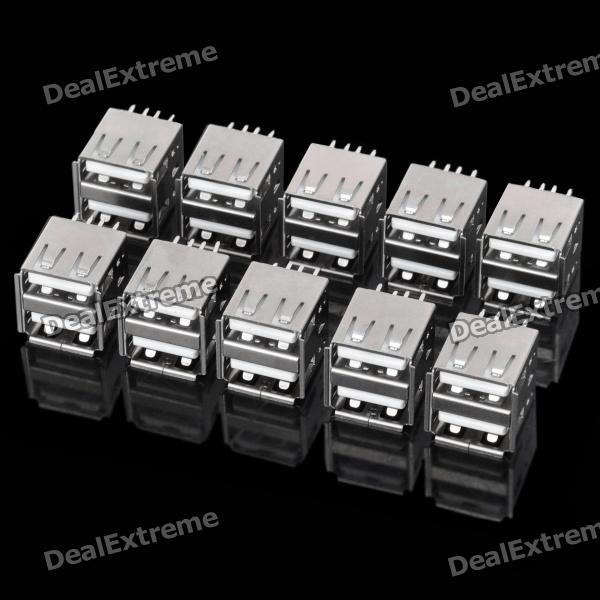 DIY Dual USB Female Type A 180 Degree DIP Socket Connector - Silver (10-Piece Pack)