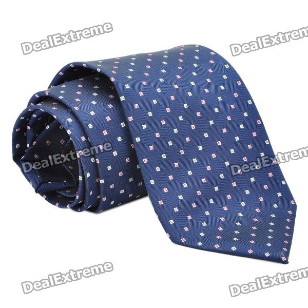 fashion-men-square-dot-pattern-tie-deep-blue