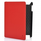Protective Artificial Leather Case w/ Swivel Holder / Smart Cover for New iPad - Red