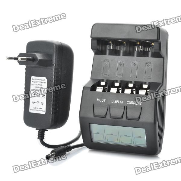 2.5 LCD Intelligent Digital Battery Charger for 4 x AA / AAA Rechargeable Batteries - Black