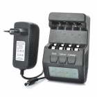 "2.5"" LCD Intelligent Digital Battery Charger for 4 x AA / AAA Rechargeable Batteries - Black"