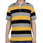 Fashion Horizontal Stripe Short Sleeves Polo Shirt T-Shirt for Men - Grey + Yellow + Black (Size-M)