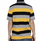 Fashion Horizontal Stripe Short Sleeves Polo Shirt T-Shirt for Men - Grey + Yellow + Black (Size-XL)