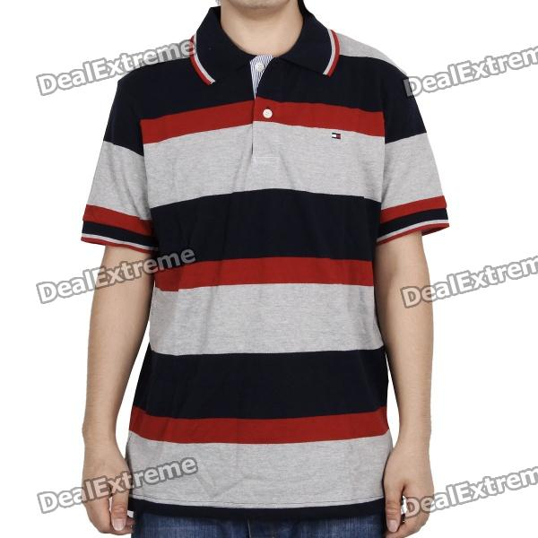 Fashion Horizontal Stripe Short Sleeves Polo Shirt T-Shirt - Dark Blue + Grey + Red (Size-L)