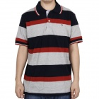 Fashion Horizontal Stripe Short Sleeves Polo Shirt T-Shirt - Dark Blue + Grey + Red (Size-XL)