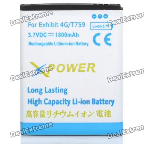 Replacement 3.7V 1800mAh Li-ion Battery for Samsung T759 Exhibit 4G - White + Blue
