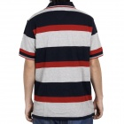 Fashion Horizontal Stripe Short Sleeves Polo Shirt T-Shirt - Dark Blue + Grey + Red (Size-M)