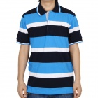 Fashion Horizontal Stripe Short Sleeves Polo Shirt T-Shirt for Men - Blue + White (Size-L)