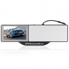 2-in-1 Bluetooth Rearview Mirror + WinCE 6.0 GPS Navigator w/ AV IN / 4GB Map TF Card - Black