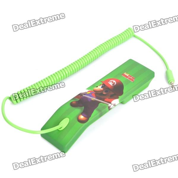 Cute Super Mario Pattern Radiation Protection Handset for Cell Phone - Green (3.5mm-Plug)
