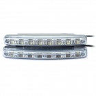 2W 12000MCD 6000K White 8-LED Car Daytime Running Light (DC 12V / Pair)