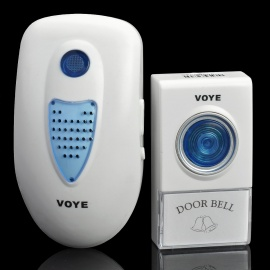 V003A 2W 38-Melody Wireless Doorbell Transmitter / Receiver Set - White (1 x 23A 12V / AC 220V)