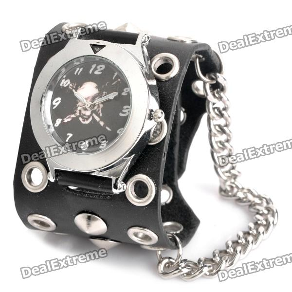 Cool Punk Style Skull Pattern Cow Leather Band Wrist Watch - Black + Silver (1 x 377) 10pcs free shipping ob2273mp ob2273 sot23 6 lcd management p 100