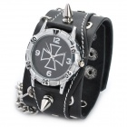 Cool Punk Style Cowhide Leather Wrist Watch (1 x 377)