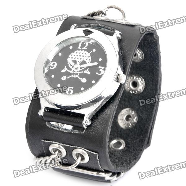 Cool Punk Style Skull Pattern Cow Leather Band Wrist Watch - Black + Silver (1 x 377)