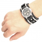 Cool Punk Style Cow Leather Band Wrist Watch - Black + Silver (1 x 377)