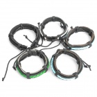 Cool Punk Style Metal Leather Braid Bracelets (5-Pack / Random Color)