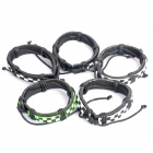 Cool Punk Style Checked Pattern Cow Leather Bracelets (5-Pack / Random Color)