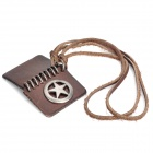 Cool Cow Leather Star Cover Book Style Pendant Necklace - Brown