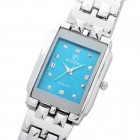 Fashion Quartz Wrist Watch with Rectangular Dial - Silver + Turquoise Blue (1 x LR626)