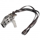 Cool Punk Carved Whistle Style Pendant Necklace - Iron Grey + Cow Leather