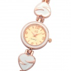 Stylish Lady's Quartz Wrist Watch - Golden + White (1 x 377)