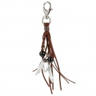 Cool Punk Style Double Feather Designed Cow Leather + Zinc Alloy Keychain - Silver + Coffee