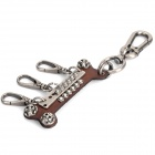 Cool Punk Cow Leather Bone Shaped Keychain - Brown + Iron Grey